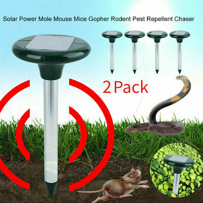 2x Solar Power Ultrasonic Sonic Mouse Gopher Mole Pest Rodent Repellent Repeller