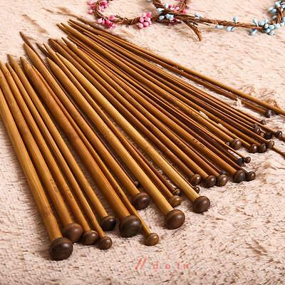 36pc 18Sizes Newly Single Pointed Bamboo Knitting Needles Lot Smooth Craft Tools