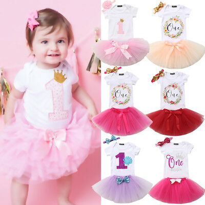 Baby Girl First 1st Birthday Outfit Romper Tutu Skirt Dress Cake Party Headband](Party Birthday Girl)