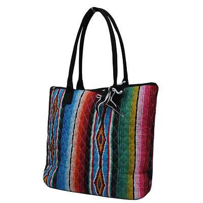 Serape NGIL® Quilted Large Ribbon Tote Bag](Black Quilted Tote Bag)