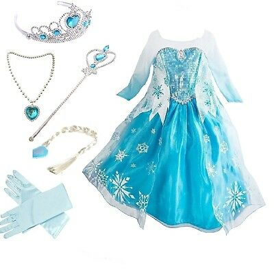 Baby Girls Toddlers Frozen Elsa Princess Party Dress Up Costume with accessories (Princess Costumes Toddlers)
