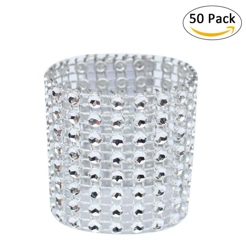 50pcs Bling Diamond Rhinestone Mesh Wrap Napkin Ring Buckle Chair