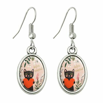 Mon Amour My Love French Cat Heart Novelty Dangling Drop Oval Charm Earrings