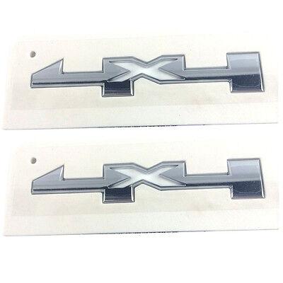 2x OEM 4 X 4 Door Emblem Badge 4x4 Nameplate 3D GM Silverado Sierra Chrome ()