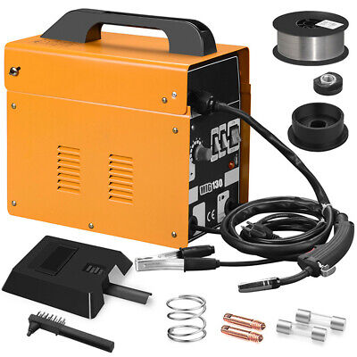 MIG 130 Welder Gas Less Flux Core Wire Automatic Feed Welding Machines + Mask US