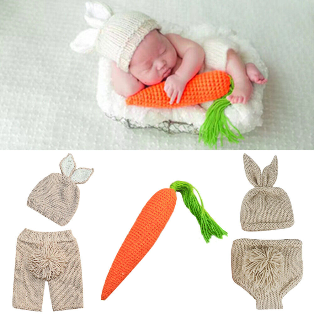 Baby Easter rabbit Bunny Knit Crochet Party Costume Outfits Photography Prop