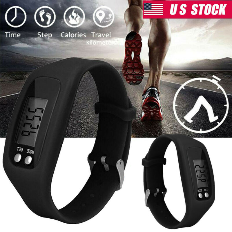 Black Digital Pedometer Run Step Walking Distance Calorie Counter Sports Watches
