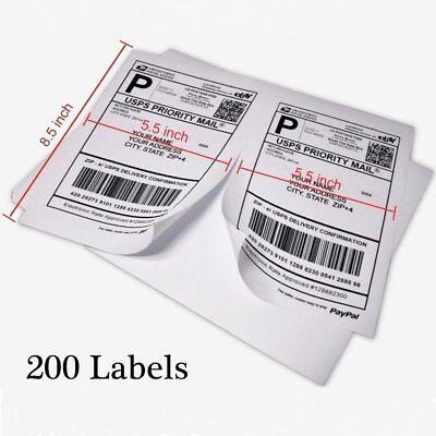 200 Shipping Labels 8.5x5.5 Half Sheet Self Adhesive Paypal Usps Ups Fedex Usa