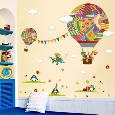 Colourful Air Balloon & Plane Wall Sticker Removable Vinyl Decal Kids Room Décor