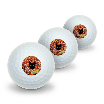 Halloween Black Cat Hiding in Candy  Novelty Golf Balls 3 Pack