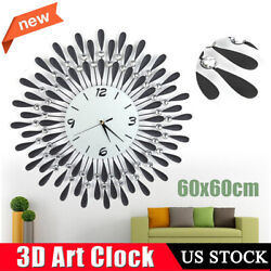 Large Modern 3D Crystal Wall Clock Luxury Art Metal Round Home Decor US Stock
