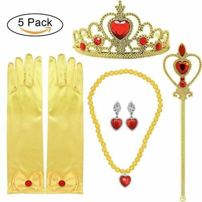 Princess Belle Dress up Accessories 5 Gifts Set Gold Gloves Tiara Crown Necklace - Dress Up Gloves