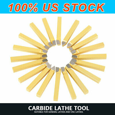 38 Carbide Tip Tipped Cutter Tool Bit Cutting Set For Metal Lathe Tooling 20pc