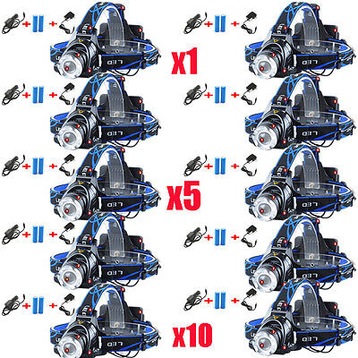 12000Lm Cree Xm L T6 Led Headlamp Zoomable Headlight  18650 Battery  Charger Lot