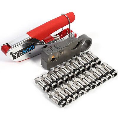 F BNC RG58 RG59 RG6 Coaxial Coax Compression Crimper Tool Kit Cable Stripper new