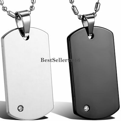 Men Boys Polished Tungsten Carbide Dog Tag Pendant Stainless Steel Necklace 22