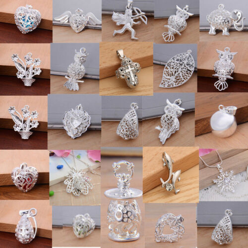 925 Sterling Silver Pendant Necklace Women Men Wedding Engag