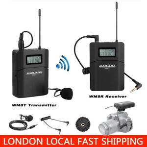 MAILADA Wireless UHF Microphone System Receiver Transmitter Lavalier Lapel Mic
