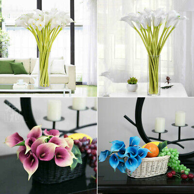 Diy Flower Vase (Artificial Calla Lily Silk Flower Real Touch DIY Bouquet Wedding Home Vase)