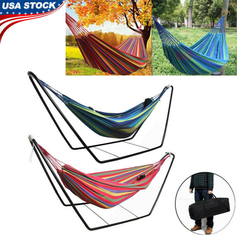 Hammock with Steel Stand Portable Double Swing Bed with Carry Case Outdoor Patio