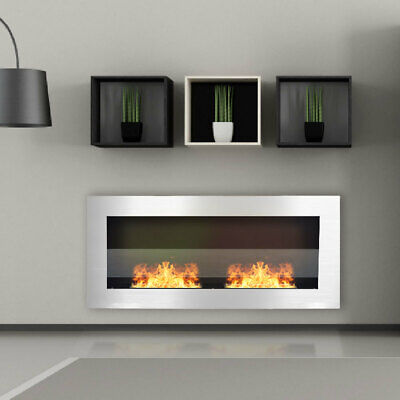900 x 400mm Bio Ethanol Fireplace Wall Mounted/Inset Biofire Fire Burner Steel