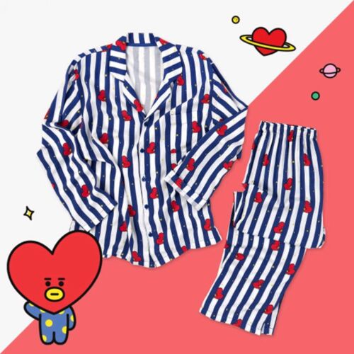 KPOP BTS BT21 TATA CHIMMY COOKY Nightgowns+Pajama Pants Sleepwear Nightwear Lot