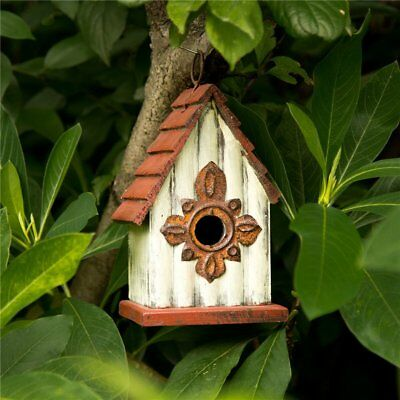 "Glitzhome 9.06"" Antique Hand Painted Wood Birdhouse Decorative Bird House Feeder"