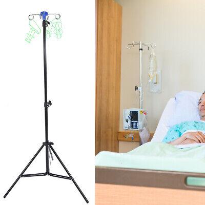 Medical Adjustable Iv Pole Administration Rolling Stand 4 Hooks 3 Leg Casters