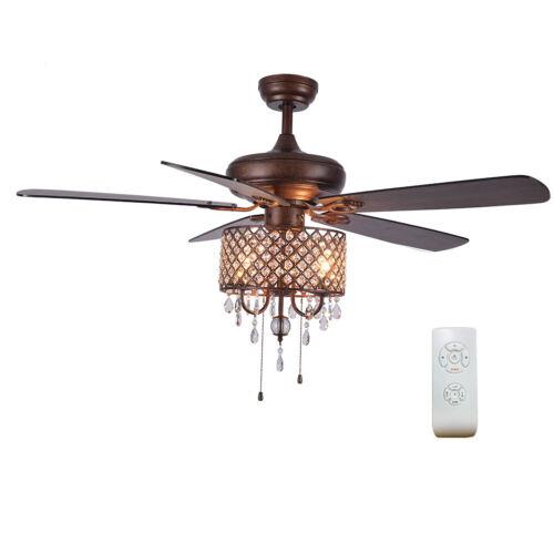 "52"" Home Crystal Ceiling Fan Light 5 Wood Blades Chandelier"