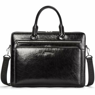 """Genuine Leather Briefcase 15.6"""" Laptop Bag Business Vintage Slim Messenger Shou d'occasion  Expédié en Belgium"""