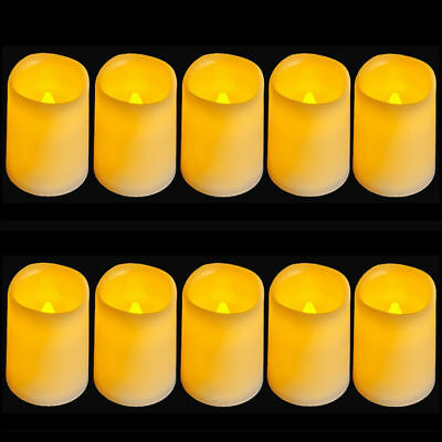 10 Pcs Flickering Flameless Pillar Led Candle Light With Timer For Wedding Party