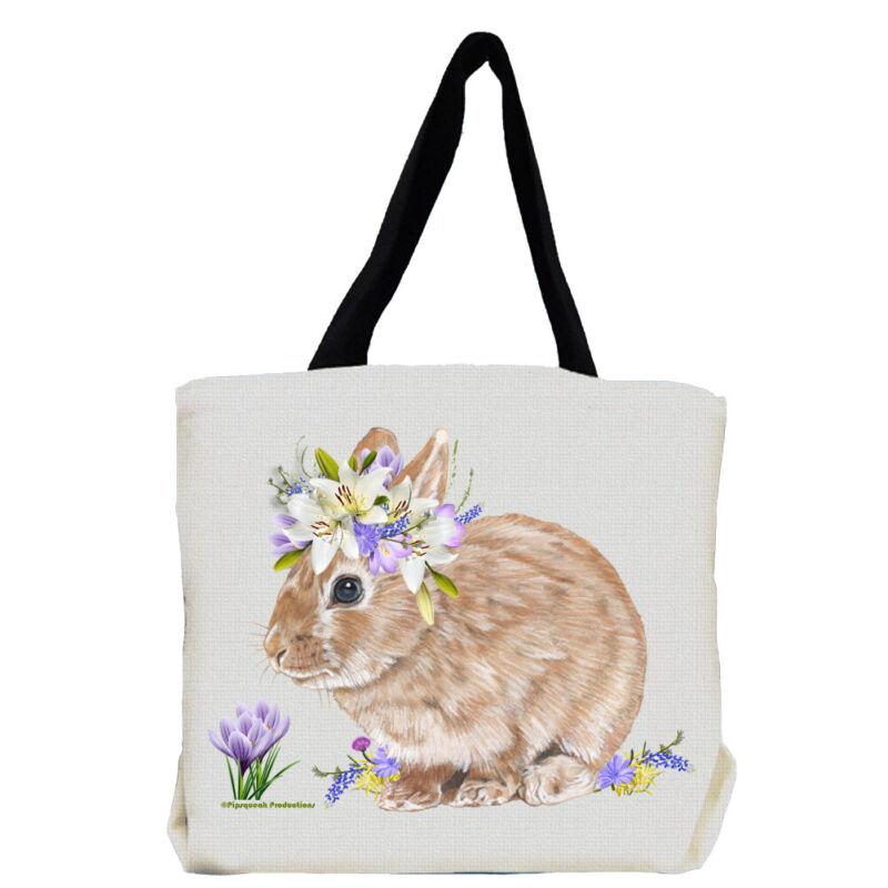 Bunny Dwarf Tan Rabbit with Flowers Tote bag