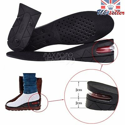 UK Unisex Air Cushion Shoes Height Increasing Insoles Pair Taller Heel Lifts