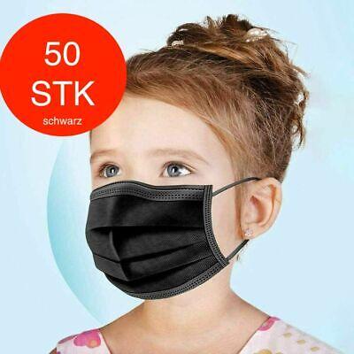 50 Kinder Maske Schwarz 3-lagig Einweg Masken Mundschutz Hygienemaske OP