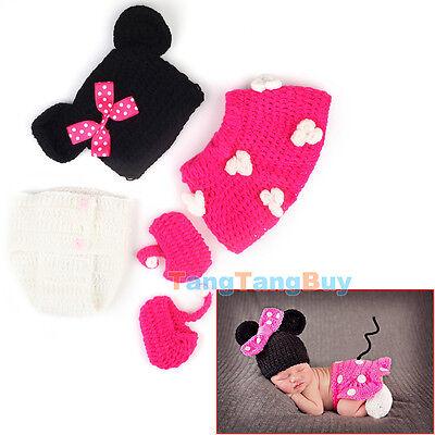 4pcs Newborn Baby Girls Boys Crochet Knit Costume Photo Photography Prop Outfit
