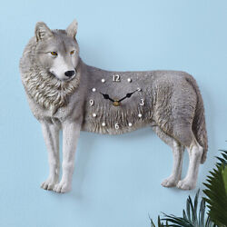 Detailed Realistic WOLF Shaped Wall Clock Lodge Cabin Southwest Home Decor