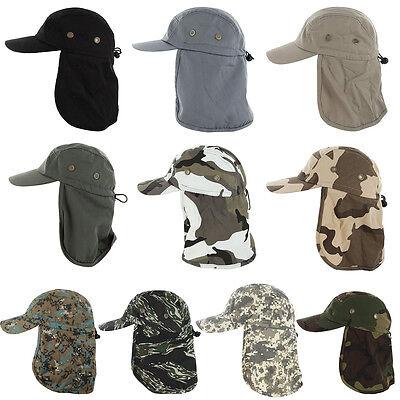 (Ear Flap Hat Neck Cover Boonie Camo Fishing Hiking Outdoor Brim Sun Military Cap)