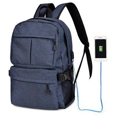 Zaino Borsa tempo libero scuola università con presa USB colore blu in Tessuto