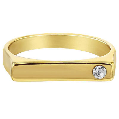 14k Gold Plated Clear Square Little Diva Baby Rings for Girls (Clear Square Plates)
