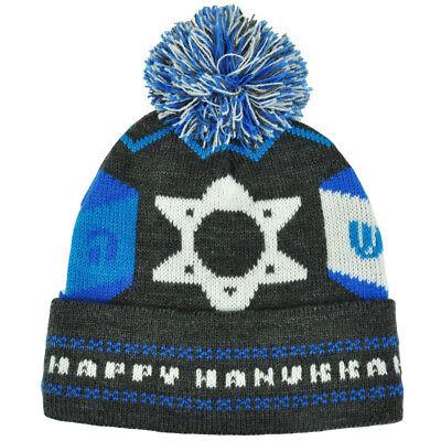 Happy Hanukkah Intarsia Cuffed Pom Beanie Toque Winter Jewish Holiday Knit Hat - Hanukkah Hats