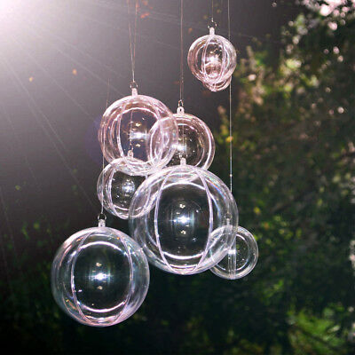 100×DIY Clear Craft Balls Baubles Sphere Fillable Box Christmas Tree Ornament ()