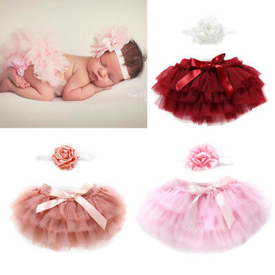 Infant Baby Girl Newborn Tutu Lace Birthday Dress Skirt+ Flower Headband Costume