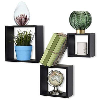 Set 3 Mensole da Parete Moderne Design Cubo Mensola Scaffale in Legno MDF Nero