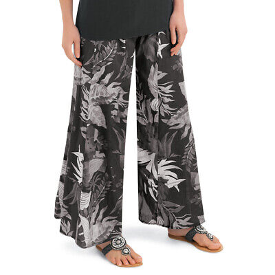 Wide-Leg All-Over Boho Floral Print Palazzo Pants with Elast