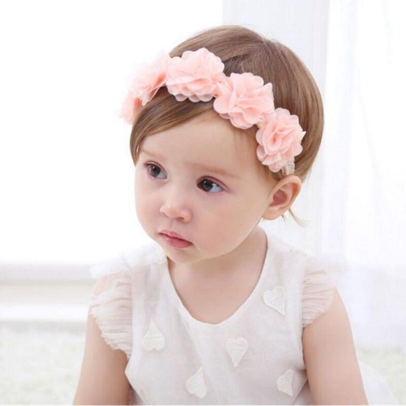 a8997b49b38 1pcs Fashion Kids Baby Pink Lace Flower Headband Hair Band Headwear  Accessories