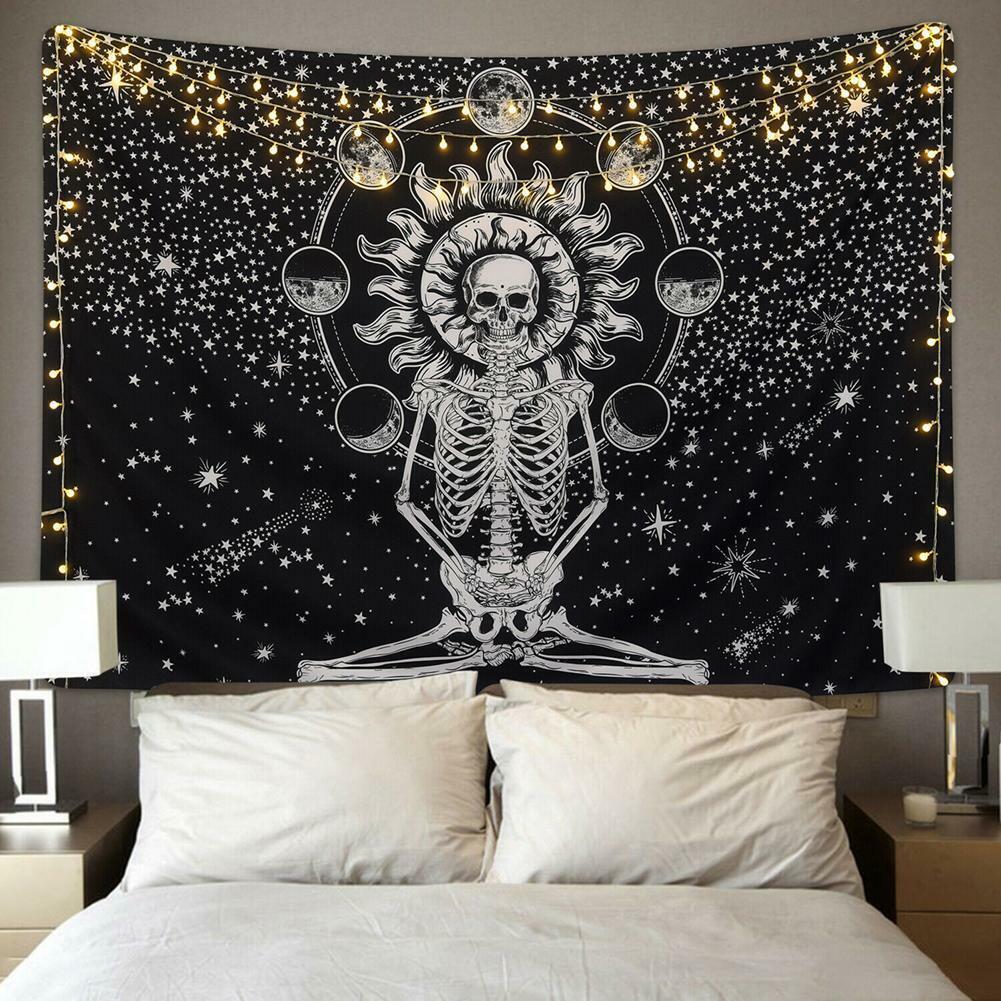 Mandala Skull Tapestry Wall Hanging Moon Phase Tapestries Art Home Wall Decor