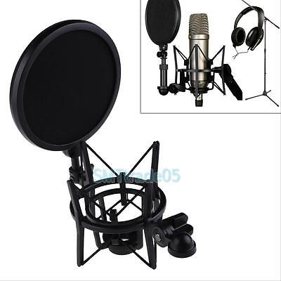 Audio Mic Microphone Shock Mount Stand Holder with Integrated Filter Screen