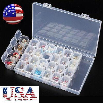 Plastic 28 Slots Nail Art Tools Jewelry Storage Box Case Organizer Beads Tools