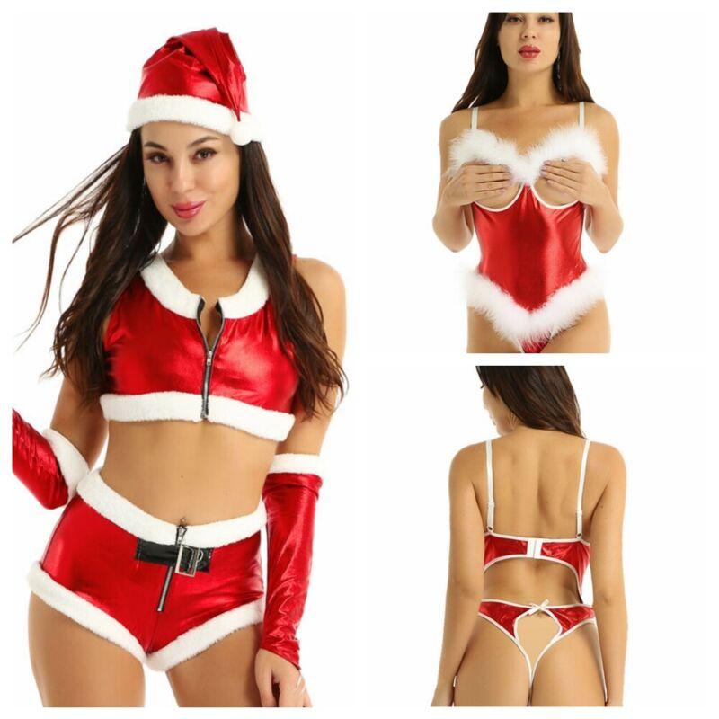 US Women Santa Costume Open Cup Lingerie Teddy Bodysuit Christmas Party Dress Up