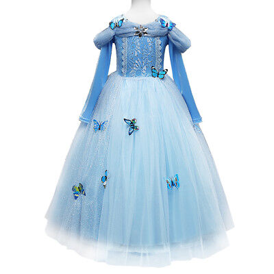 Cinderella Costume For Teens (Cinderella Cosplay Halloween Long Sleeve Tulle Fancy Dress for Kid Girls)